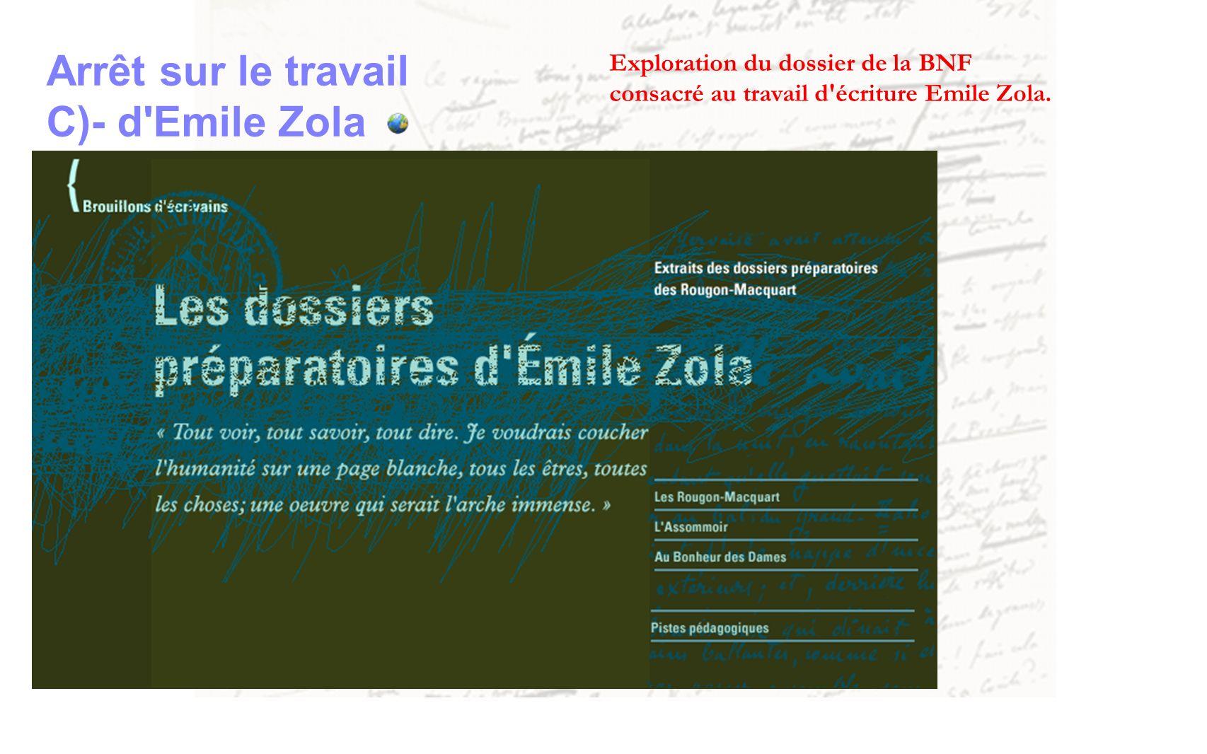 Arrêt sur le travail C)- d Emile Zola Exploration du dossier de la BNF