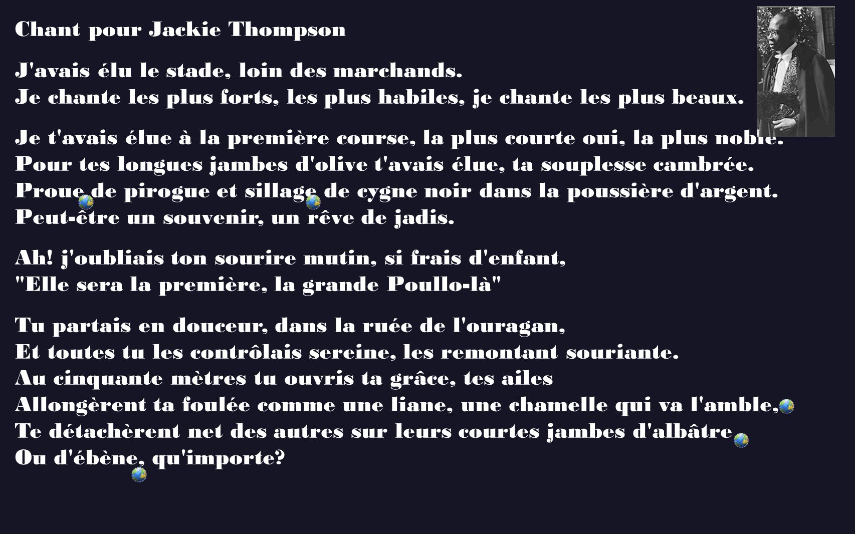Chant pour Jackie Thompson