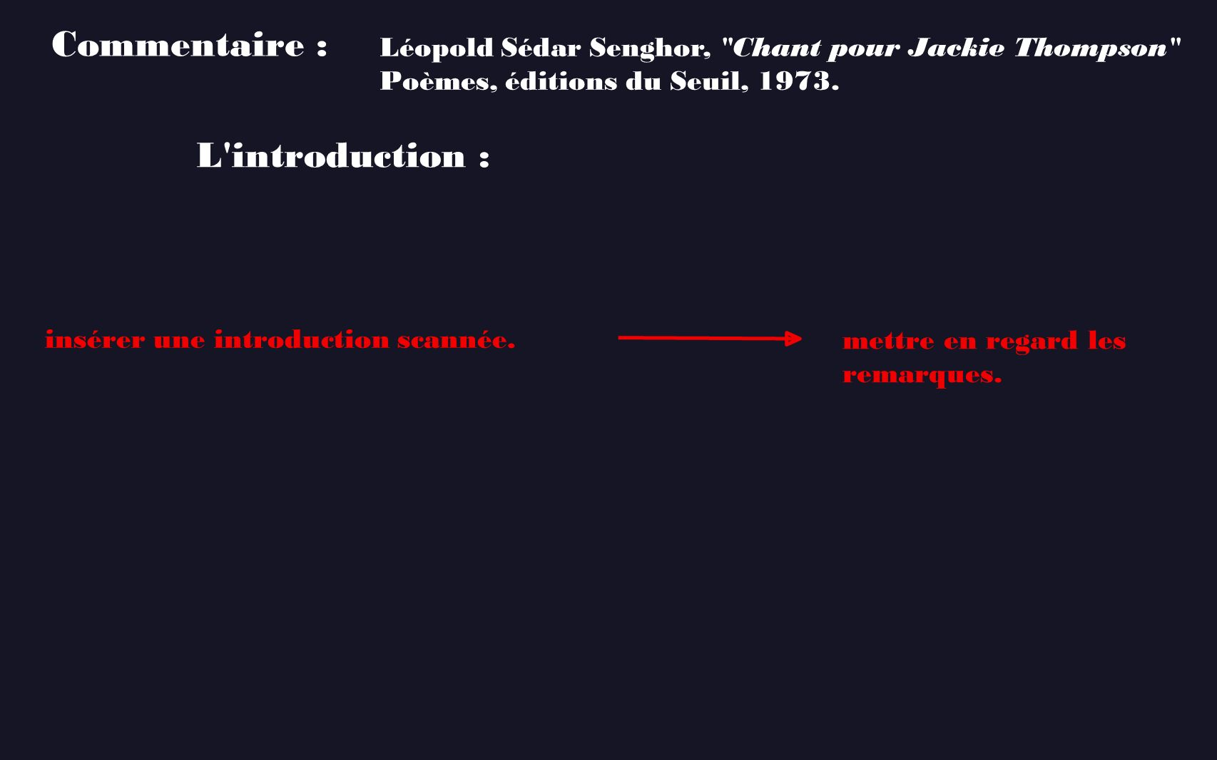 Commentaire : L introduction :