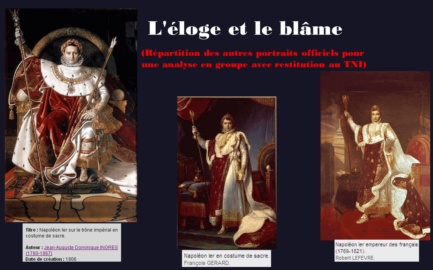 L éloge et le blâme (Répartition des autres portraits officiels pour