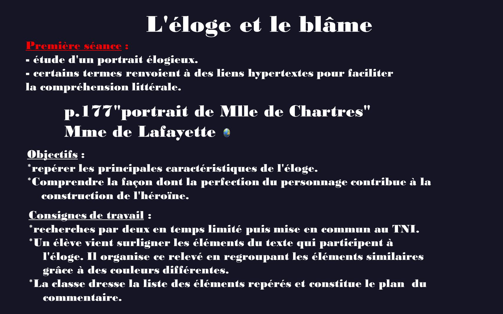 L éloge et le blâme p.177 portrait de Mlle de Chartres
