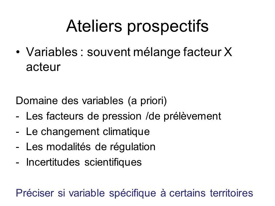 Ateliers prospectifs Variables : souvent mélange facteur X acteur