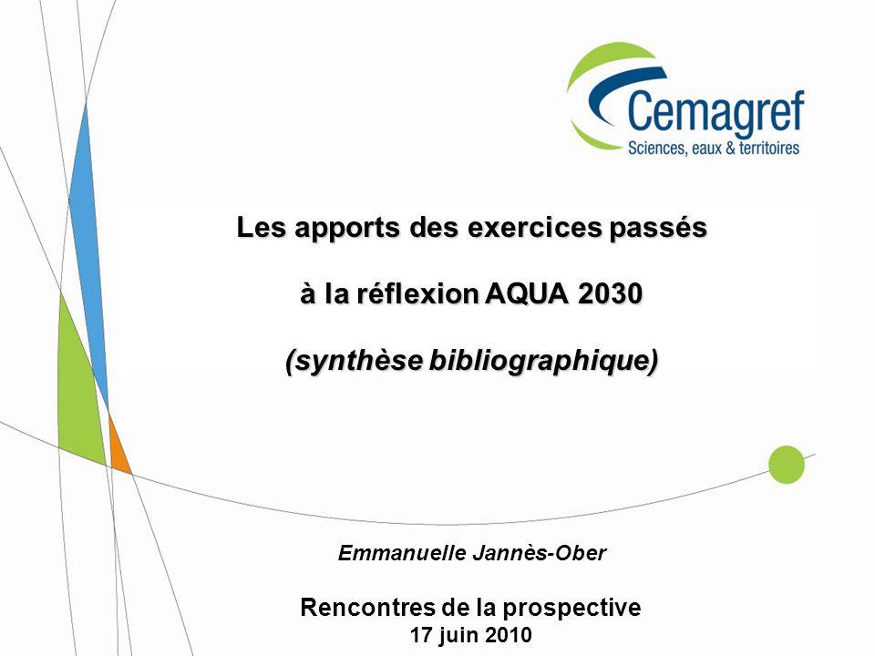 Les apports des exercices passés à la réflexion AQUA 2030
