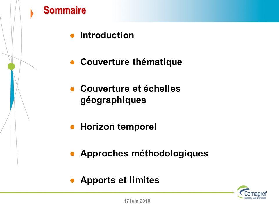 Sommaire Introduction Couverture thématique