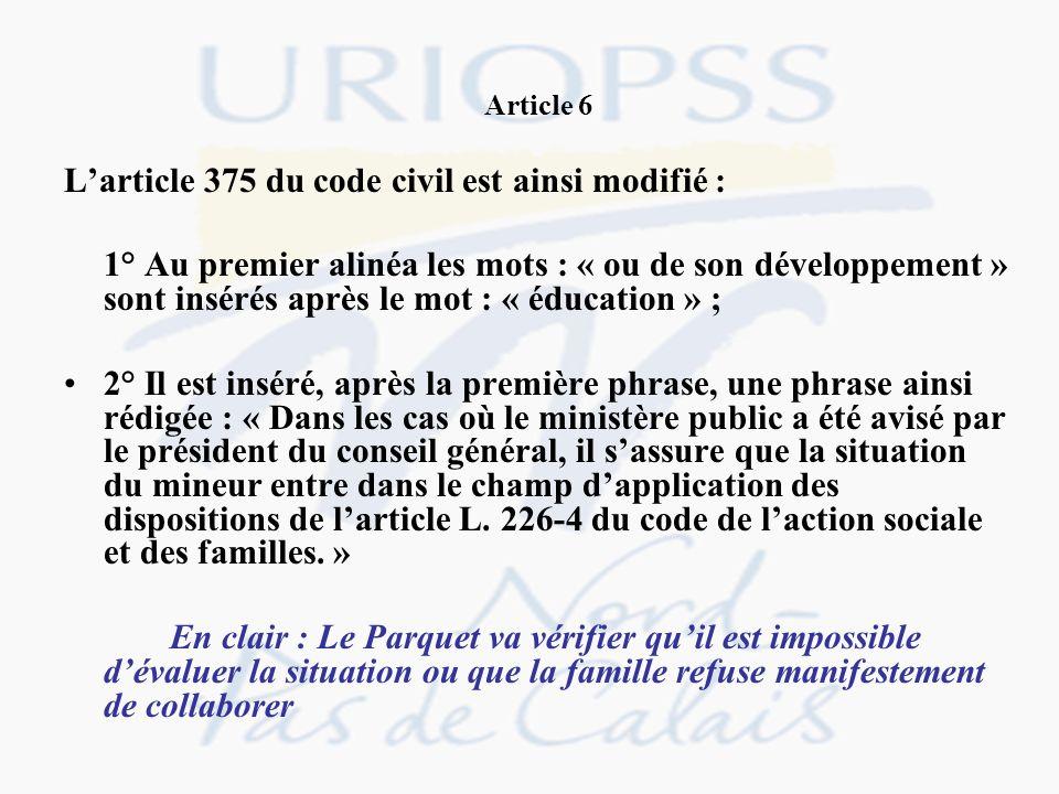 L'article 375 du code civil est ainsi modifié :