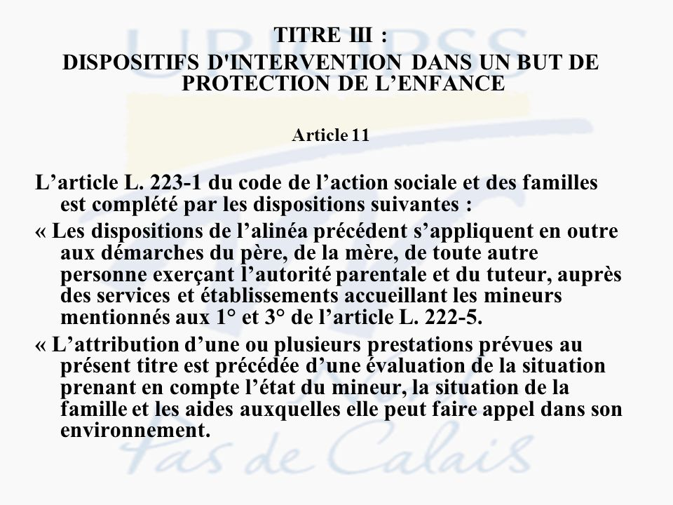 DISPOSITIFS D INTERVENTION DANS UN BUT DE PROTECTION DE L'ENFANCE
