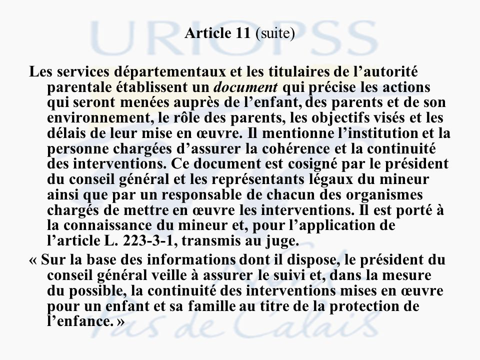 Article 11 (suite)