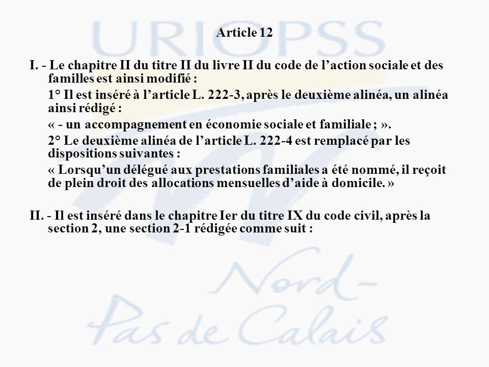 Article 12 I. - Le chapitre II du titre II du livre II du code de l'action sociale et des familles est ainsi modifié :