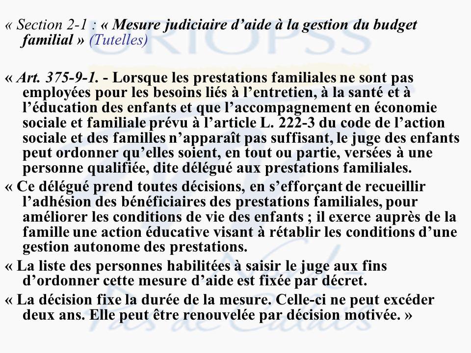 « Section 2-1 : « Mesure judiciaire d'aide à la gestion du budget familial » (Tutelles)