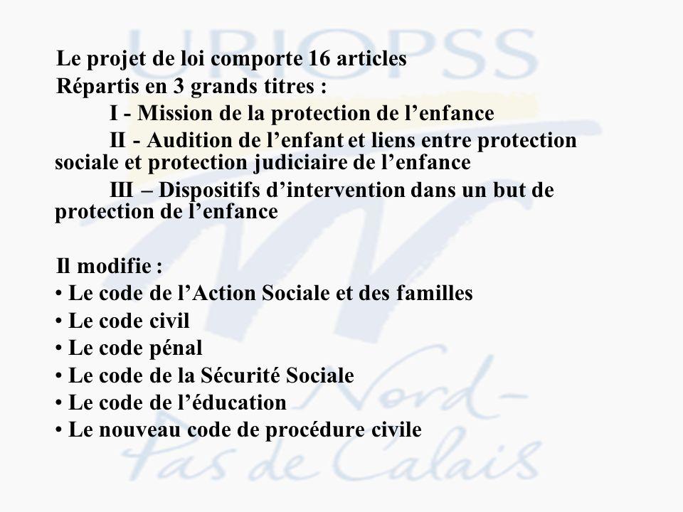 Le projet de loi comporte 16 articles
