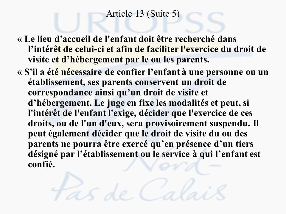 Article 13 (Suite 5)