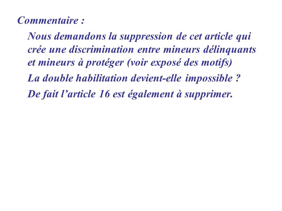 Commentaire :