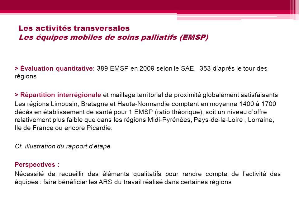 Les activités transversales Les équipes mobiles de soins palliatifs (EMSP)