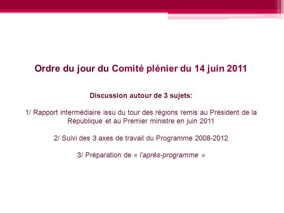 Ordre du jour du Comité plénier du 14 juin 2011 Discussion autour de 3 sujets: 1/ Rapport intermédiaire issu du tour des régions remis au Président de la République et au Premier ministre en juin 2011 2/ Suivi des 3 axes de travail du Programme 2008-2012 3/ Préparation de « l'après-programme »