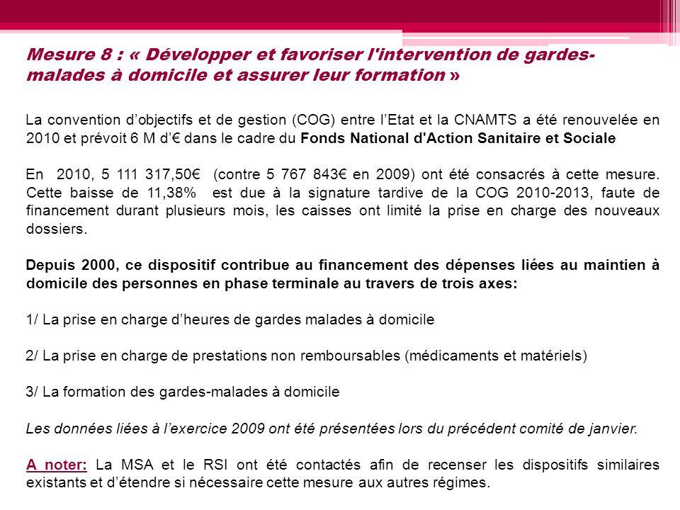 Mesure 8 : « Développer et favoriser l intervention de gardes-malades à domicile et assurer leur formation »