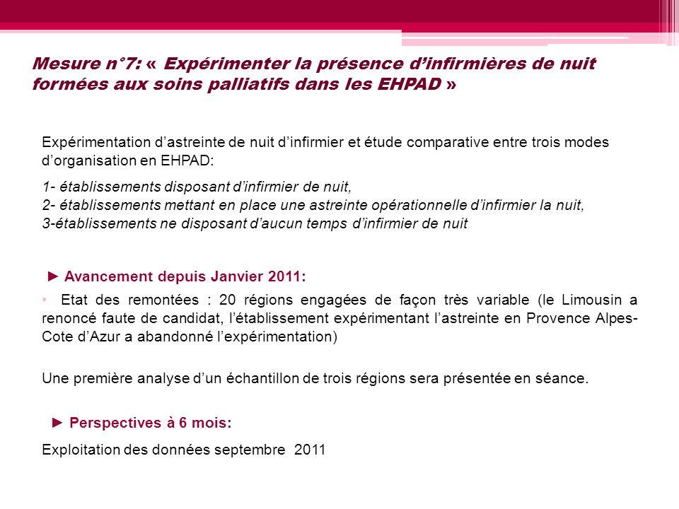 Mesure n°7: « Expérimenter la présence d'infirmières de nuit formées aux soins palliatifs dans les EHPAD »
