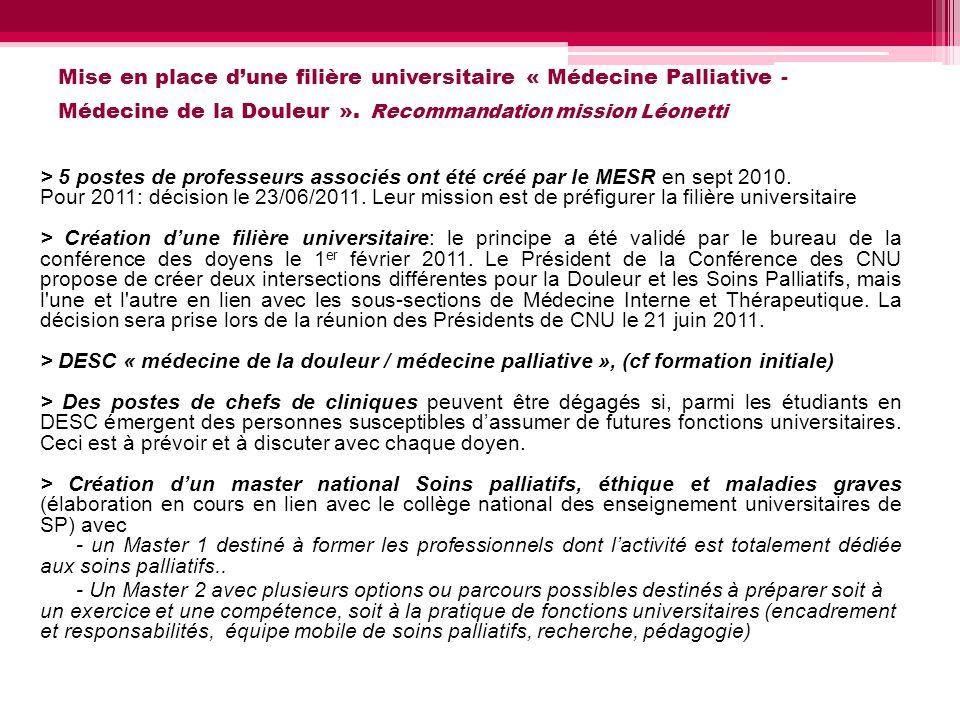 Mise en place d'une filière universitaire « Médecine Palliative - Médecine de la Douleur ». Recommandation mission Léonetti