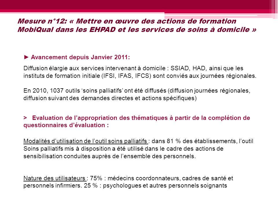 Mesure n°12: « Mettre en œuvre des actions de formation MobiQual dans les EHPAD et les services de soins à domicile »