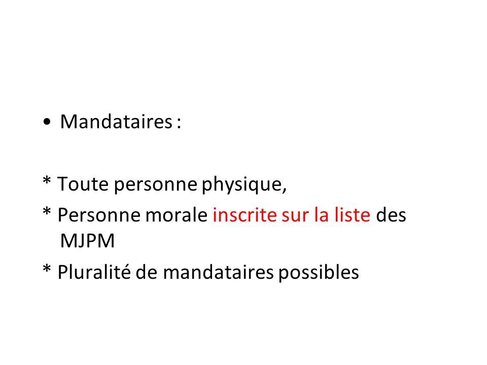 Mandataires : * Toute personne physique, * Personne morale inscrite sur la liste des MJPM.