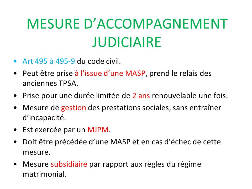 MESURE D'ACCOMPAGNEMENT JUDICIAIRE