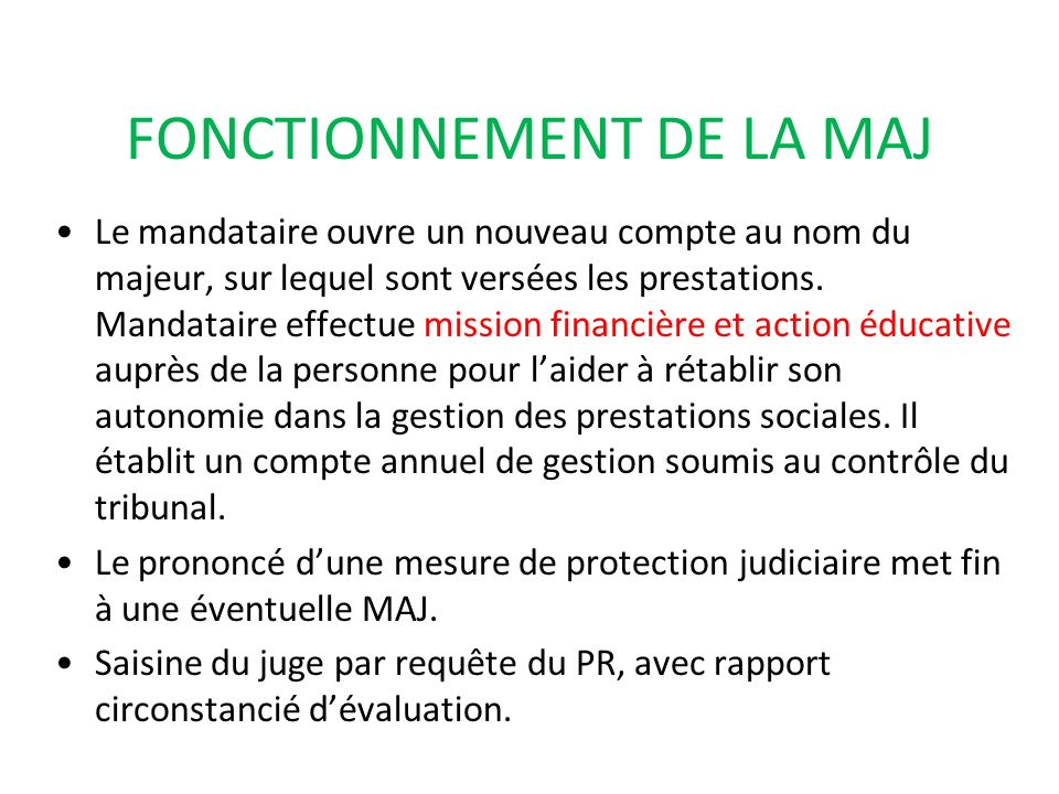 FONCTIONNEMENT DE LA MAJ