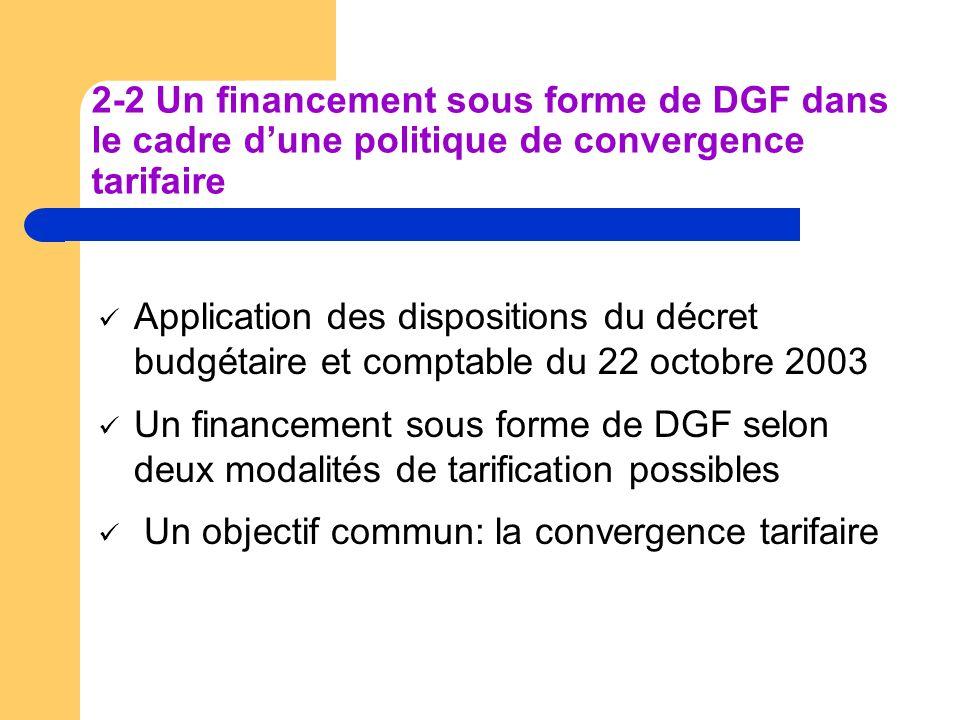 2-2 Un financement sous forme de DGF dans le cadre d'une politique de convergence tarifaire