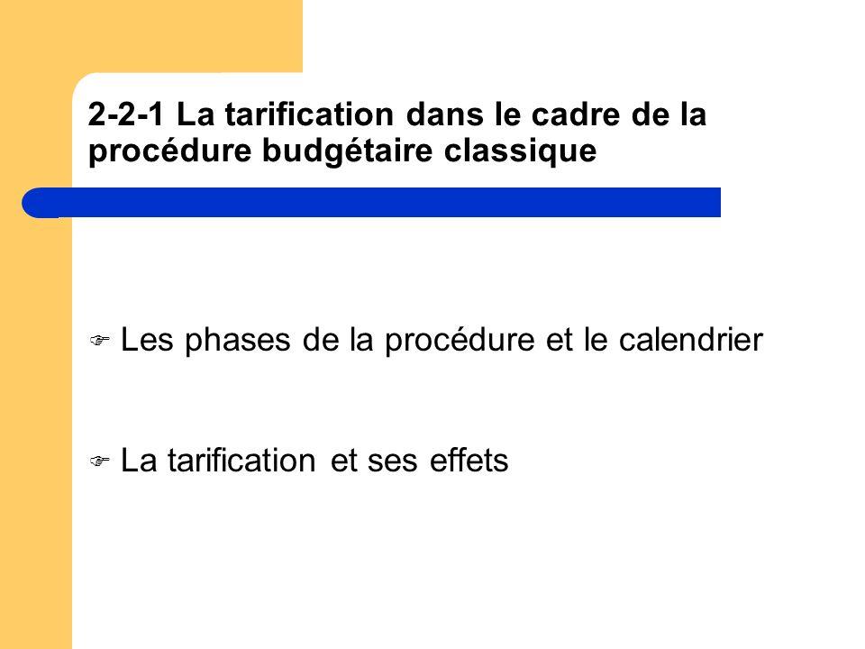 2-2-1 La tarification dans le cadre de la procédure budgétaire classique