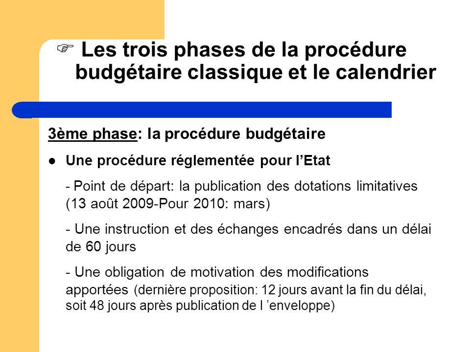 Les trois phases de la procédure budgétaire classique et le calendrier