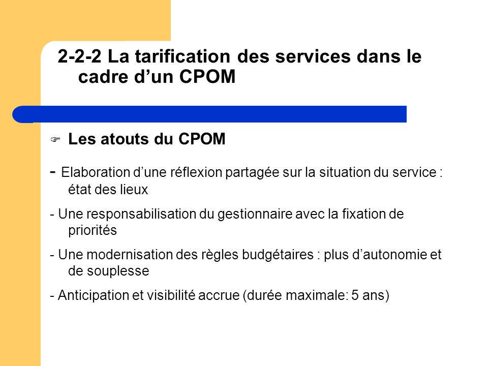 2-2-2 La tarification des services dans le cadre d'un CPOM