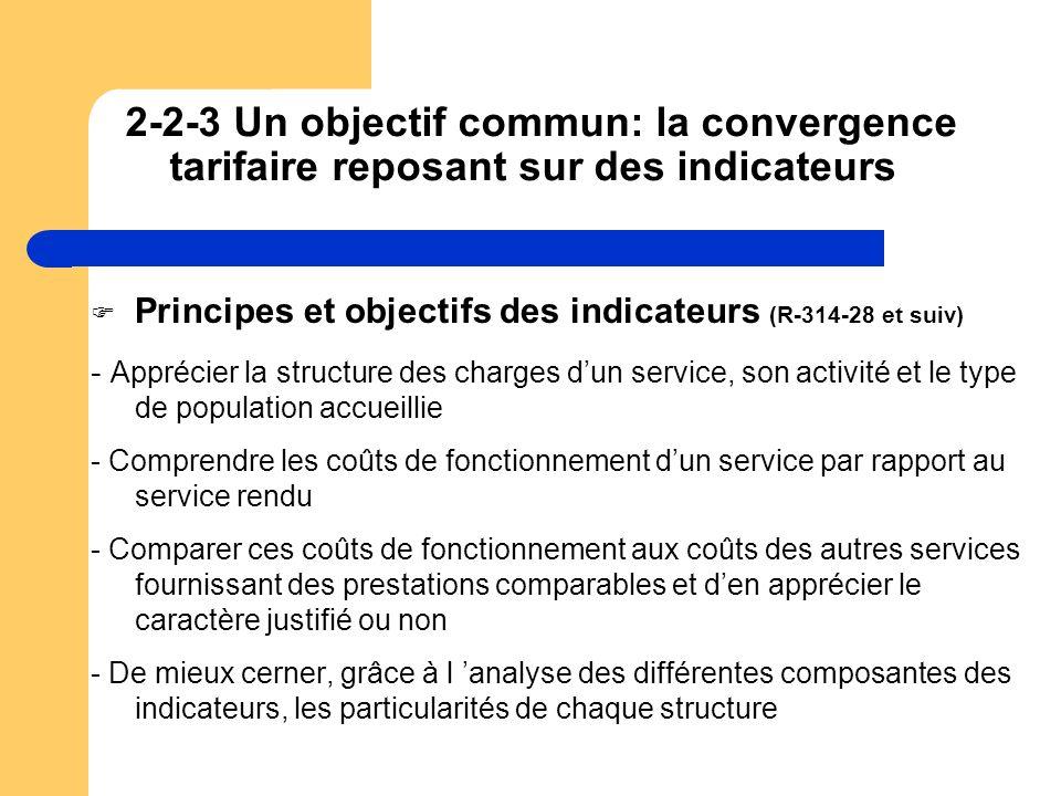 2-2-3 Un objectif commun: la convergence tarifaire reposant sur des indicateurs
