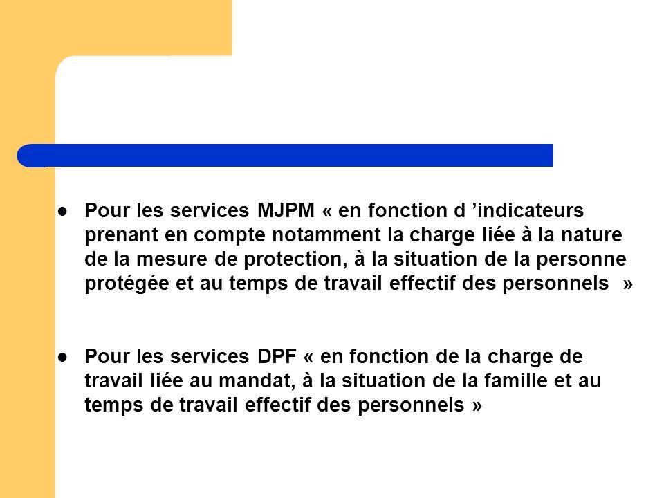 Pour les services MJPM « en fonction d 'indicateurs prenant en compte notamment la charge liée à la nature de la mesure de protection, à la situation de la personne protégée et au temps de travail effectif des personnels »