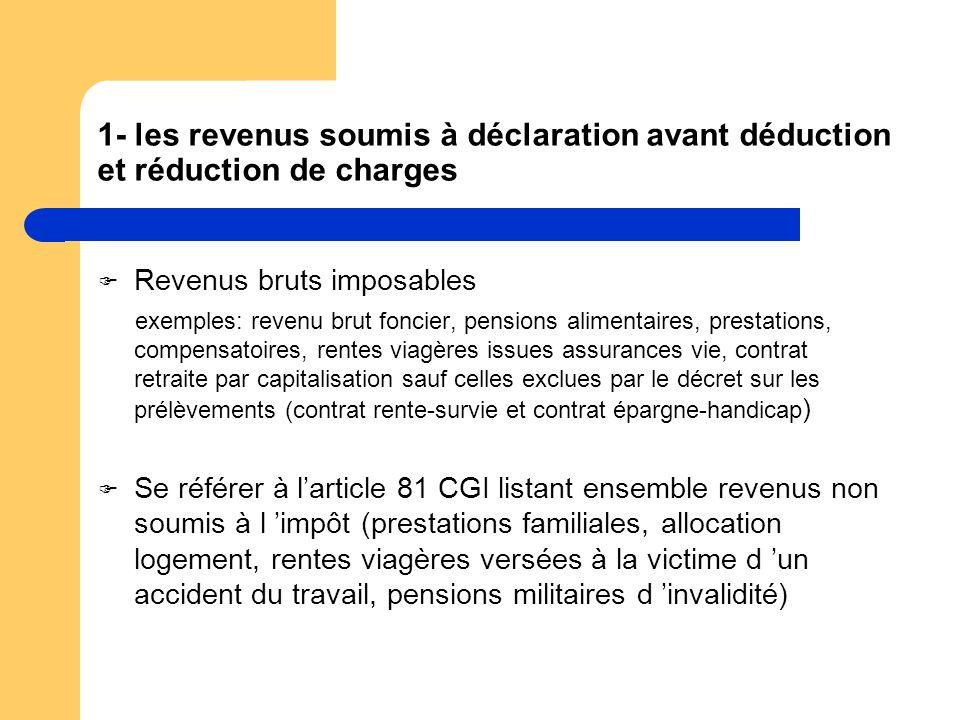 1- les revenus soumis à déclaration avant déduction et réduction de charges