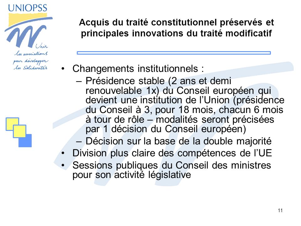 Changements institutionnels :