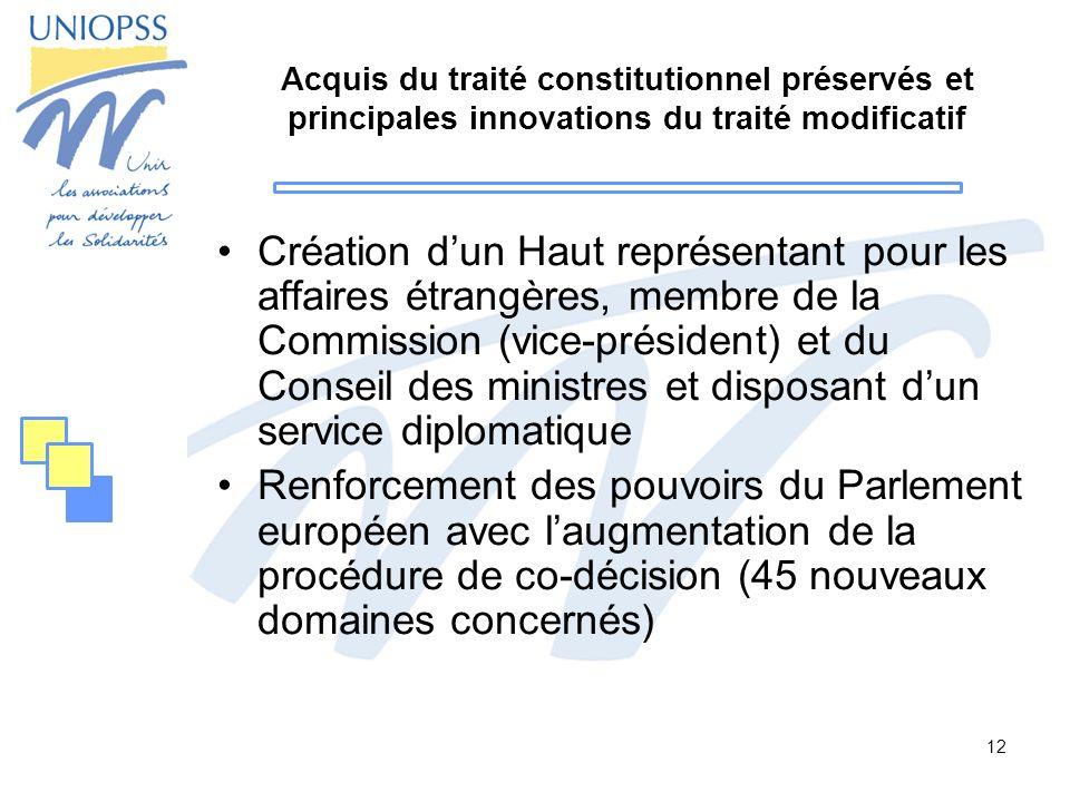 Acquis du traité constitutionnel préservés et principales innovations du traité modificatif