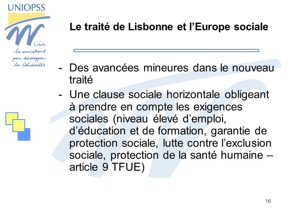 Le traité de Lisbonne et l'Europe sociale