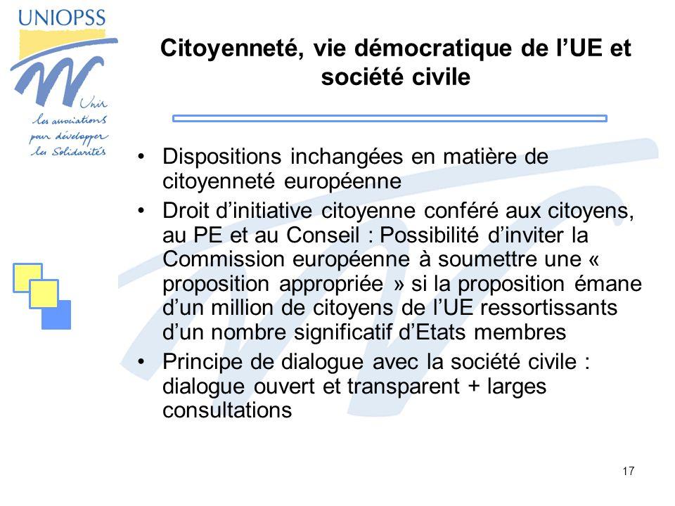 Citoyenneté, vie démocratique de l'UE et société civile