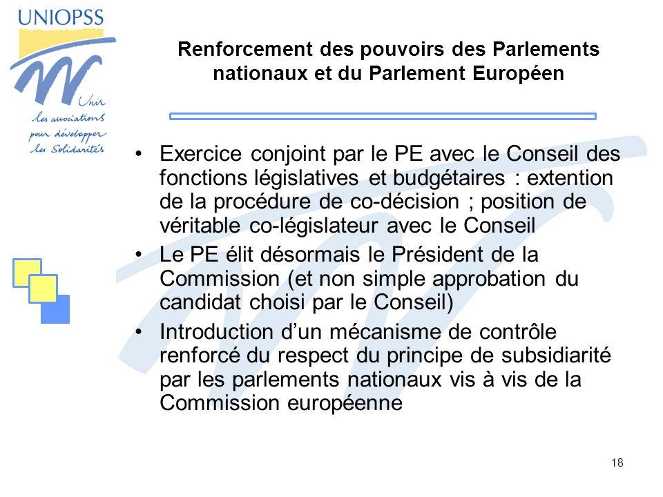 Renforcement des pouvoirs des Parlements nationaux et du Parlement Européen