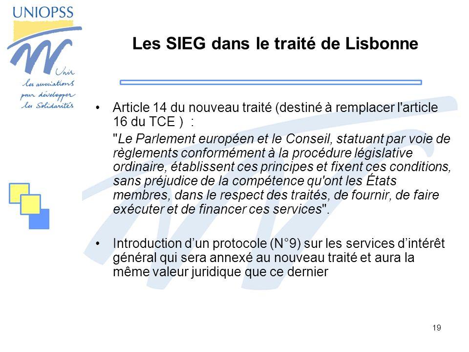 Les SIEG dans le traité de Lisbonne