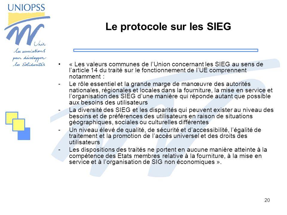Le protocole sur les SIEG