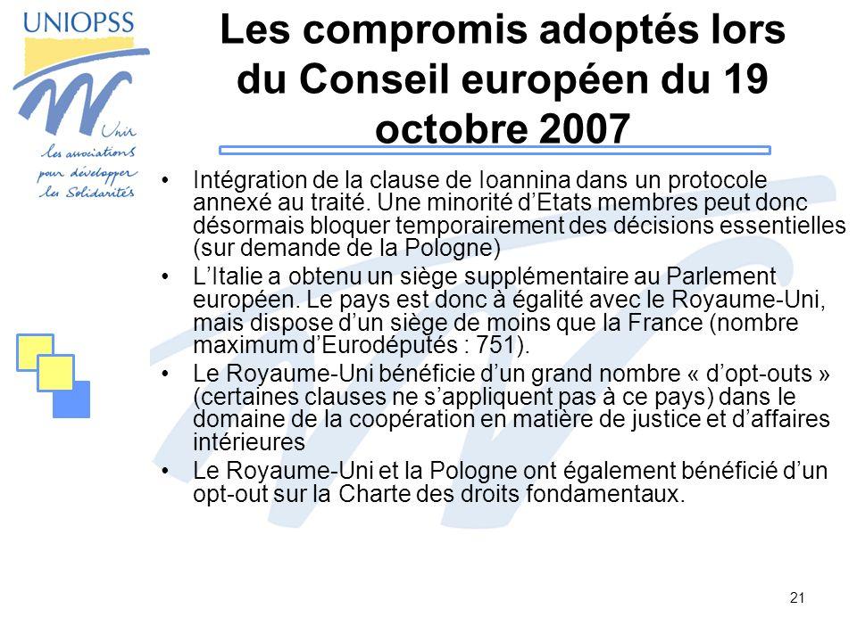 Les compromis adoptés lors du Conseil européen du 19 octobre 2007
