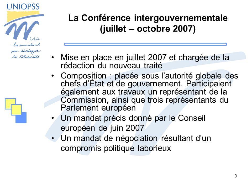 La Conférence intergouvernementale (juillet – octobre 2007)