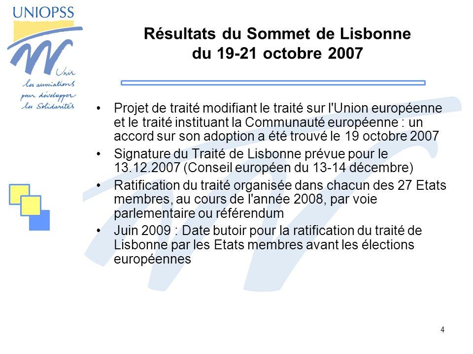 Résultats du Sommet de Lisbonne du 19-21 octobre 2007