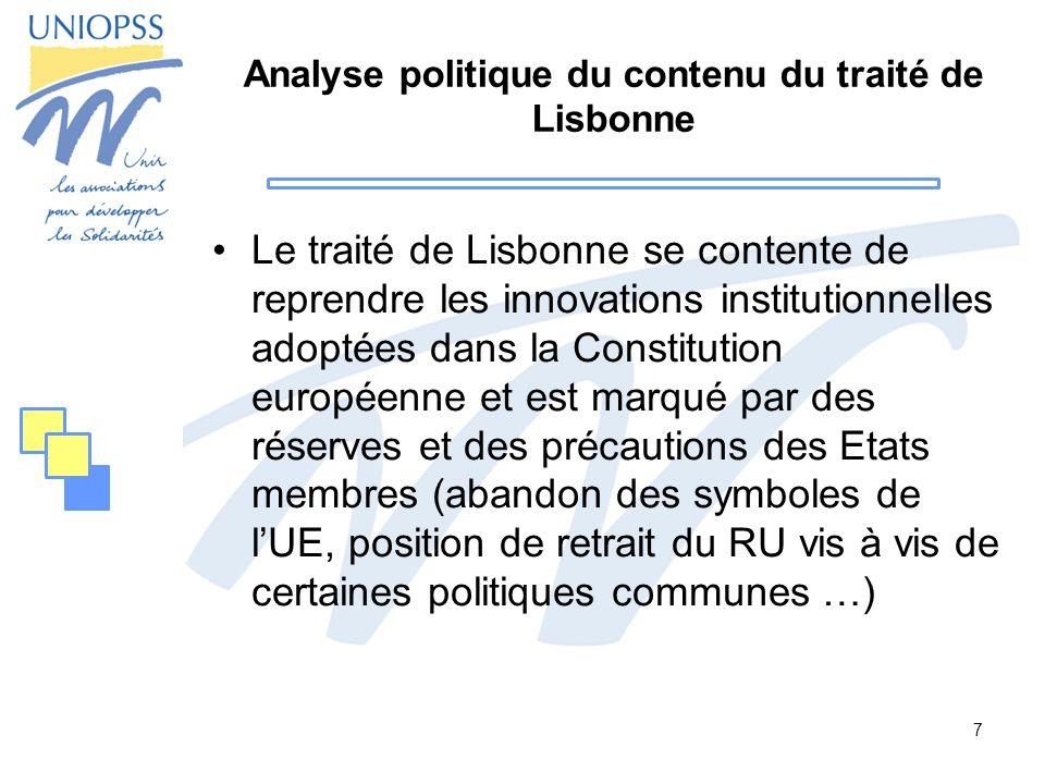Analyse politique du contenu du traité de Lisbonne