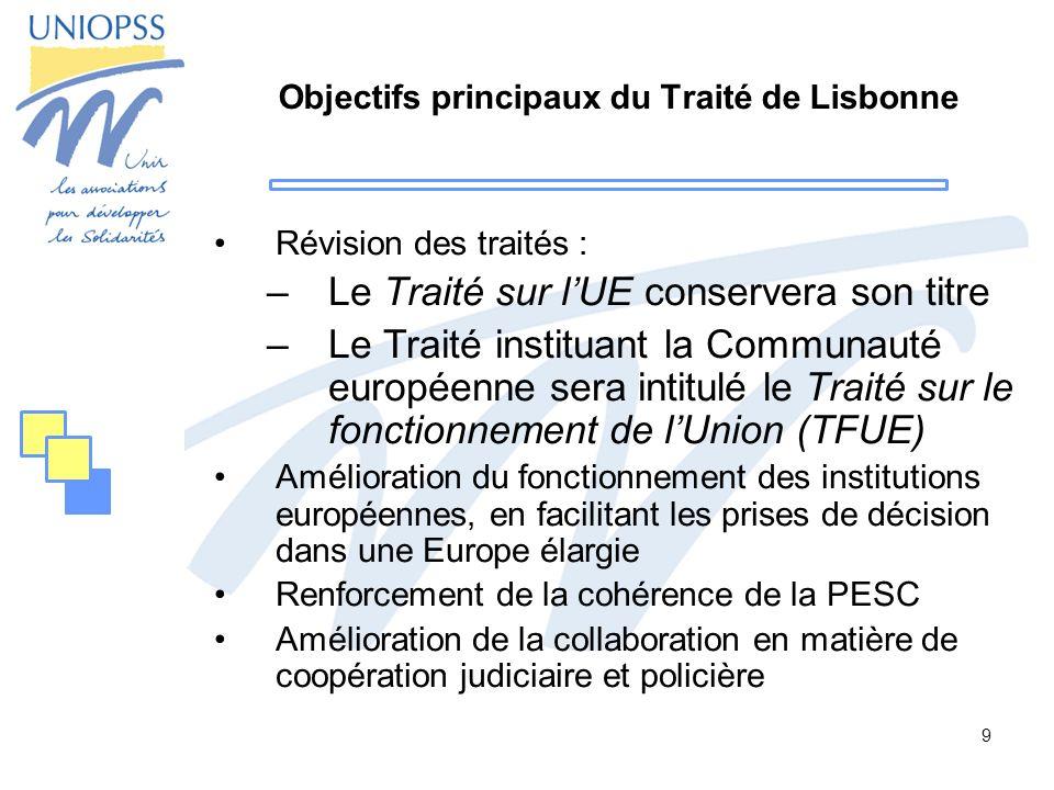 Objectifs principaux du Traité de Lisbonne
