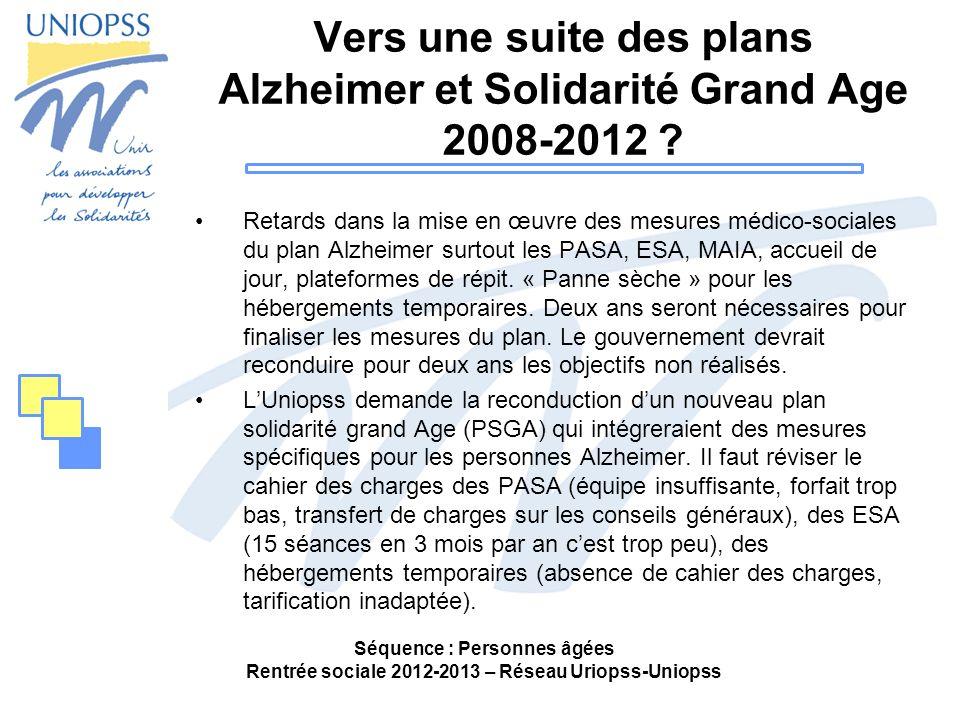 Vers une suite des plans Alzheimer et Solidarité Grand Age 2008-2012