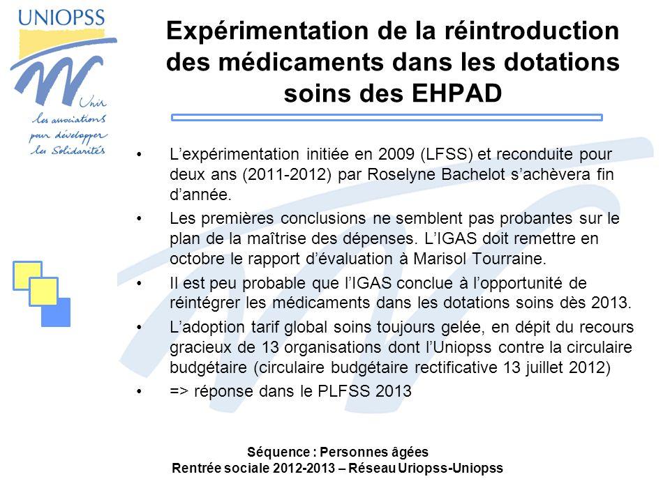 Expérimentation de la réintroduction des médicaments dans les dotations soins des EHPAD