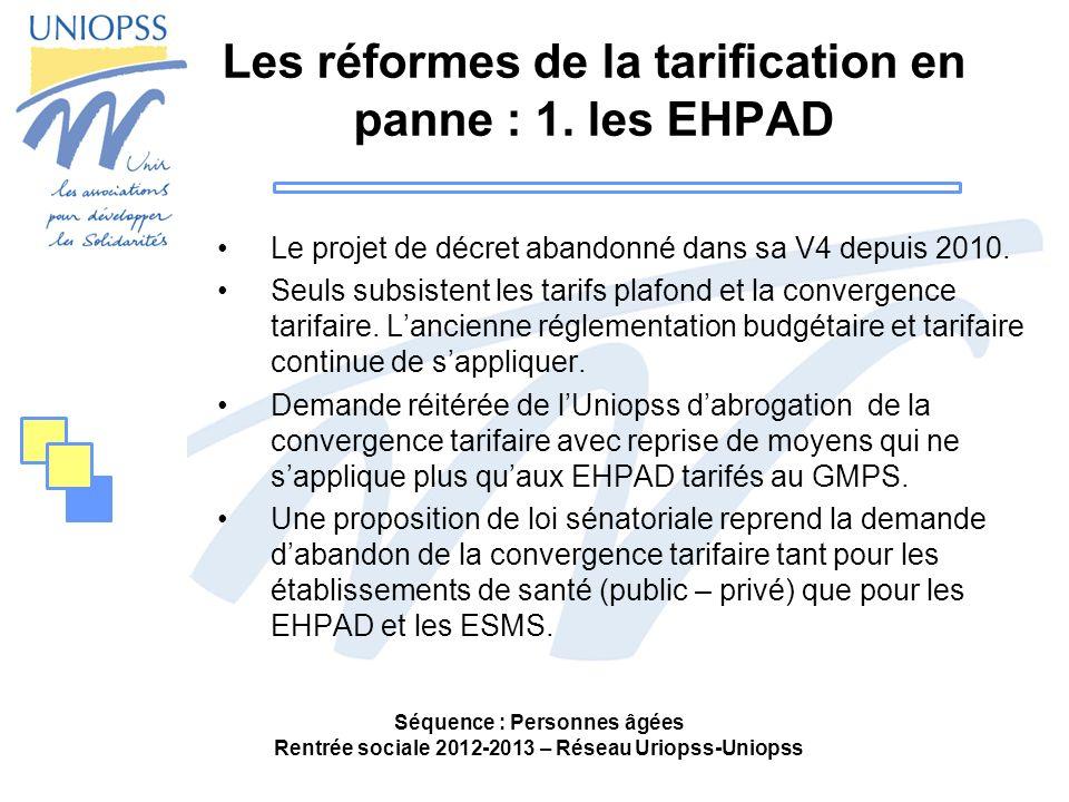 Les réformes de la tarification en panne : 1. les EHPAD