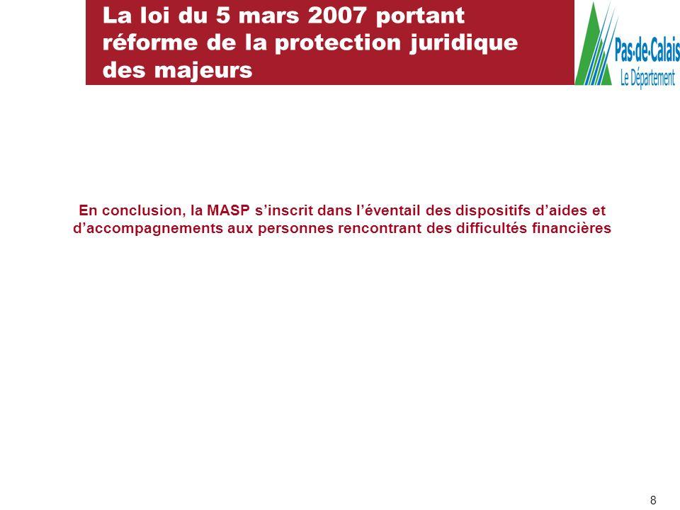 La loi du 5 mars 2007 portant réforme de la protection juridique des majeurs
