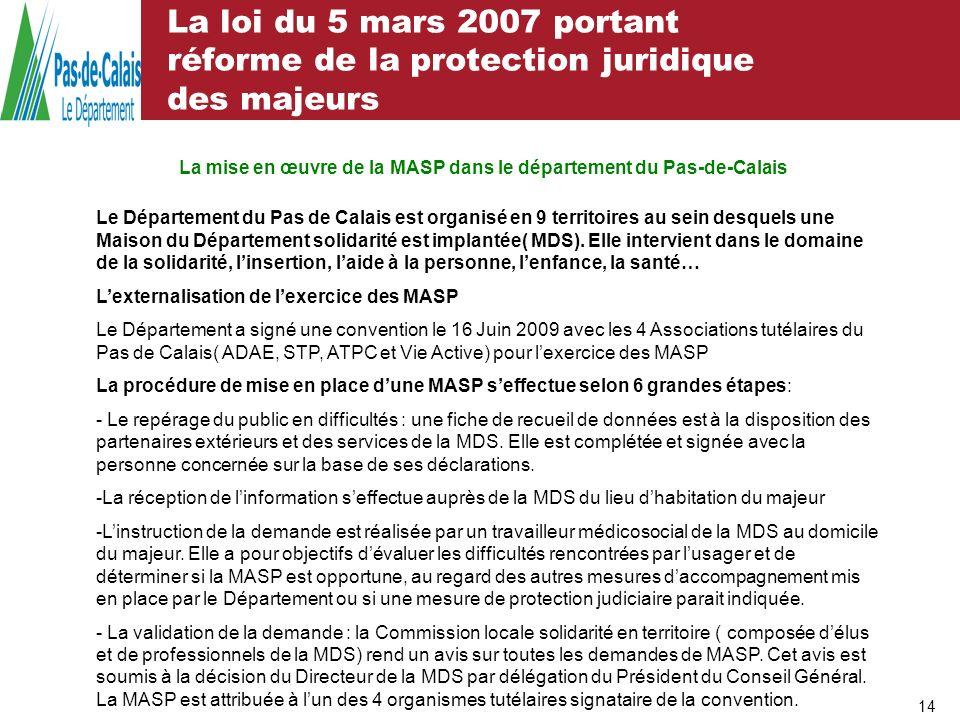 La mise en œuvre de la MASP dans le département du Pas-de-Calais