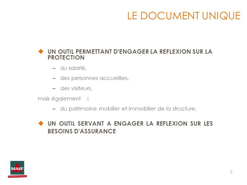 LE DOCUMENT UNIQUE UN OUTIL PERMETTANT D ENGAGER LA REFLEXION SUR LA PROTECTION. du salarié, des personnes accueillies,